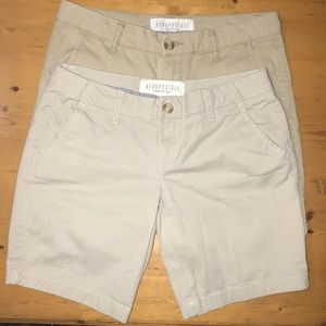 Aeropostale Khaki Bermuda Shorts Twill 2 (2 pair)